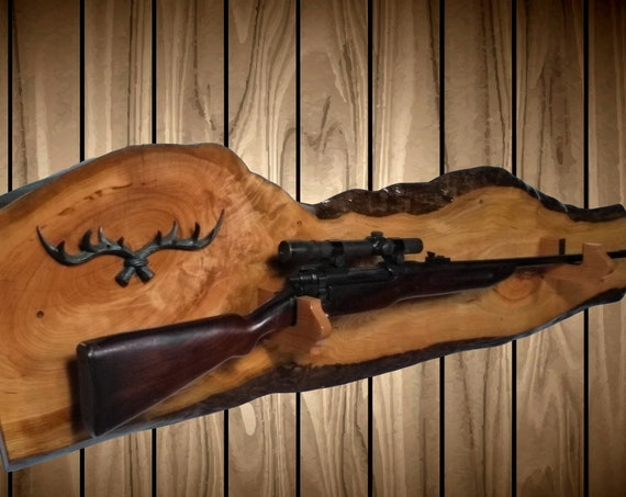 Live Edge Wild Cherry Gun Rack, Beautiful Character, Antler Key Rack, Wall Mount Rifle Shotgun, Home Cabin Decor, Gift, FREE SHIPPING