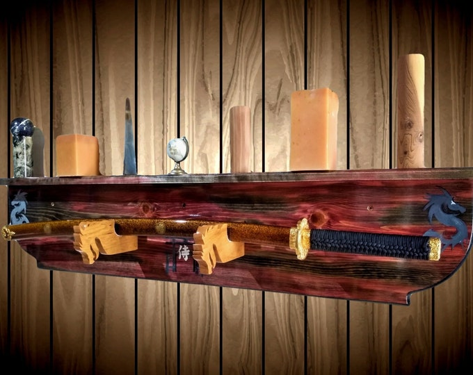 Samurai Sword Wall Display Rack Bokken Katana Dragon Holders Shelf Hand Painted Japanese Decor