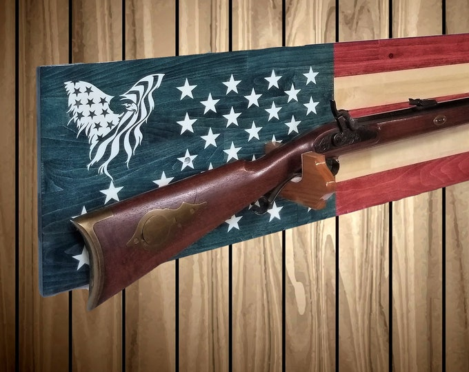 American Eagle Flag Gun Rack Wall Display Rifle Shotgun USA Patriotic Hunting Decor Gift, FREE SHIPPING