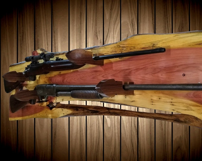 Raw Nature Rustic 2 Place Gun Rack Live Edge Knotty Cedar Arrowhead Hangers Rifle Shotgun Muzzle Loader Home Cabin Decor Gift