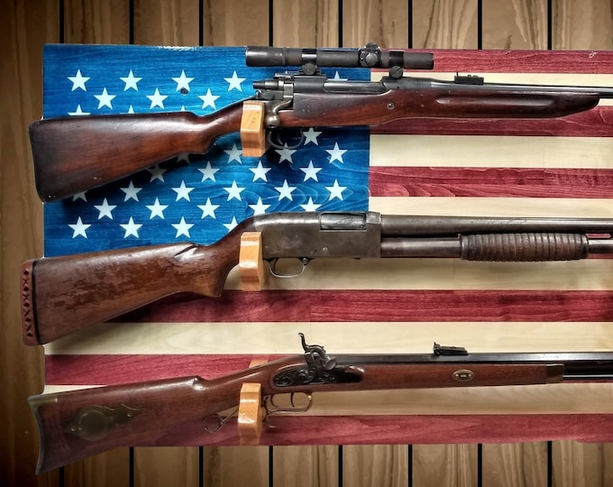 Featured listing image: Wall Mount American Flag Gun Rack, 3 Place Aspen, Rifle Shotgun Muzzle Loader, Handcrafted Man Cave Americana Decor, FREE SHIPPING