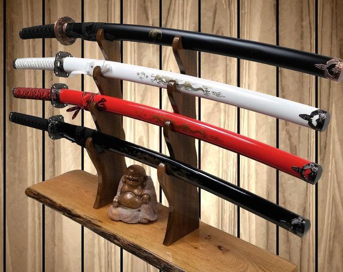 4 Tier Sword Display Stand Rustic Oak Base Katana Wakizashi Tanto Samurai Mantel Desk Top Japanese Decor Gift Free Shipping