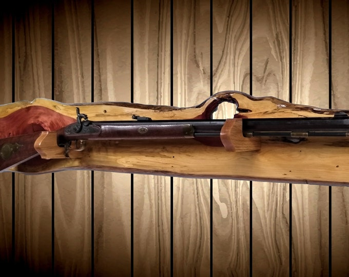 Rustic Gun Rack, Wall Mount, Live Edge Knotty Cedar, Shotgun Rifle, Cabin, Hunting Decor