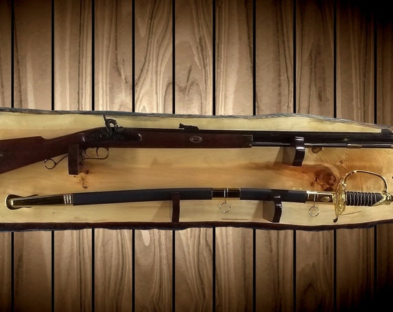 Rustic Gun Rack and Sword  Display Live Edge Knotty Pine Cabin Lodge Vintage Wall Decor Gift