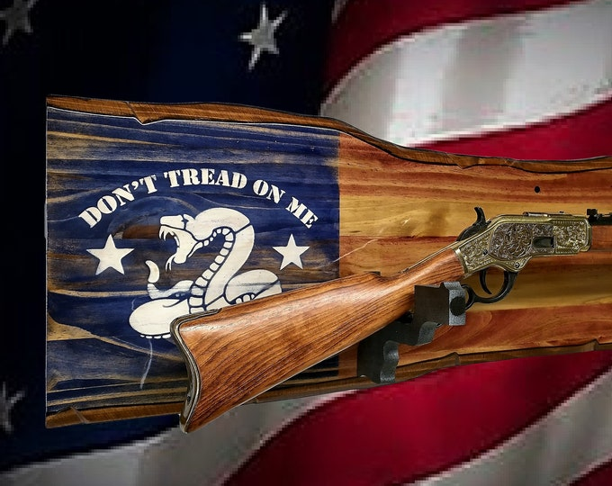 "Rustic Lever Action Rifle Display ""Don't Tread On Me""  Gun Rack Pistol Hangers 2nd Amendment Gift, FREE SHIPPING"