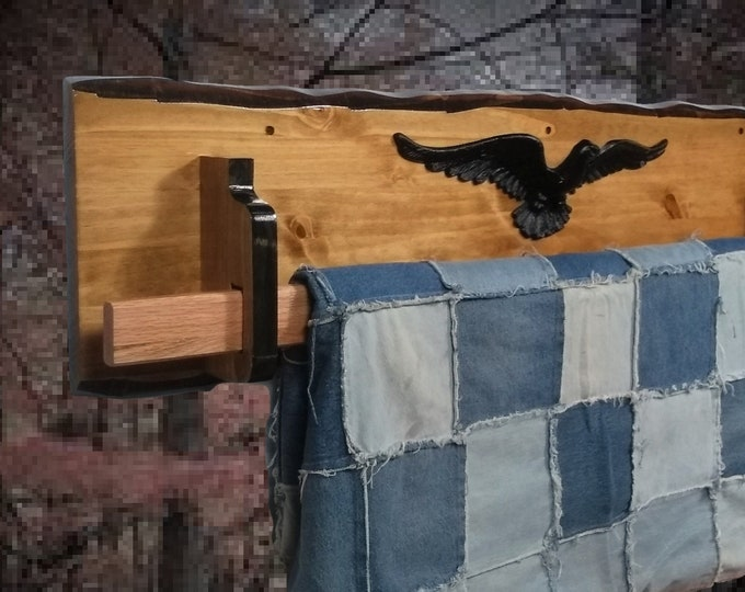 Hanging Wood Quilt Rack Wall Mount Rustic Knotty Pine Home Cabin Décor Unique Gift, FREE SHIPPING