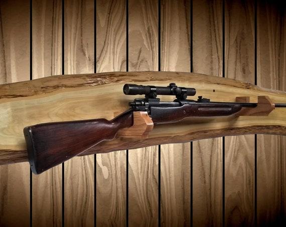 Rustic Gun Rack, Wall Mount, Live Edge White Cedar, Unique Shape, Shotgun Rifle, Cabin, Hunting Decor