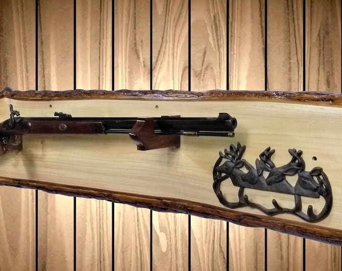Live Edge Wood Gun Rack, Natural and Rustic, Cabin, Hunting, Lodge Decor, Unique Gift, FREE SHIPPING