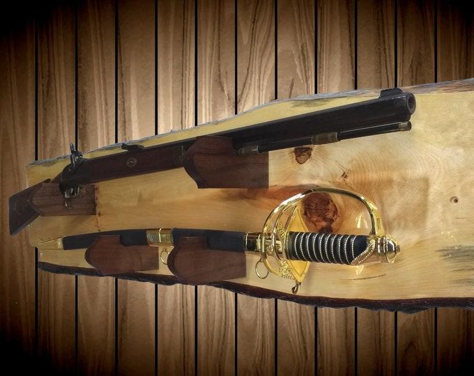 Rustic Gun Rack with Sword  Display Live Edge Knotty Pine Cabin Lodge Vintage Wall Decor Gift