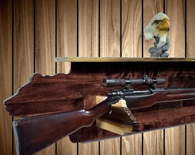 A Bear Necessity Gun Rack and Shelf, Bear Hangers, Rifle Shotgun, Cabin, Hunting Decor, Gift, FREE SHIPPING