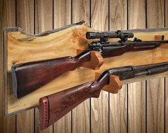 Rustic Pine Gun Rack, Live Edge 2 Gun Display, Wall Mount, Rifle Shotgun, Hunting Decor, Vintage Gun Display Gift, FREE SHIPPING