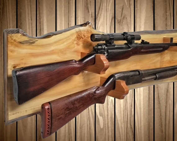 Rustic Pine Gun Rack, Live Edge 2 Gun Display, Wall Mount, Rifle Shotgun, Hunting Decor, Gift, FREE SHIPPING