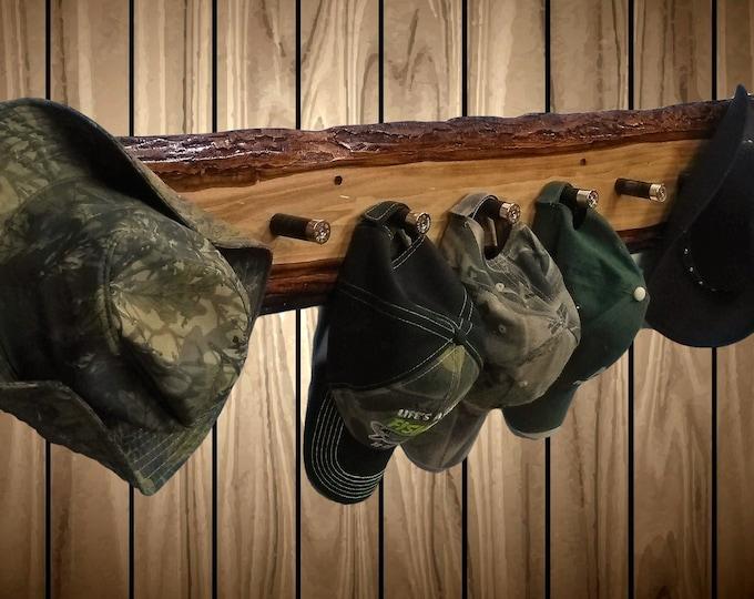 Large Rustic Hat Coat Rack 9 Shotgun Shell Pegs Live Edge Wood Cabin Decor Unique Gift FREE SHIPPING!