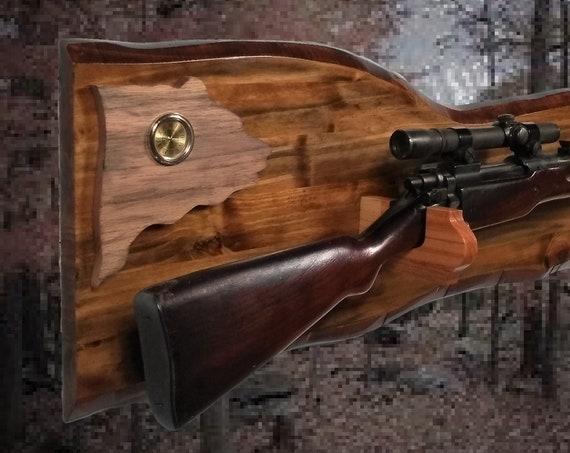 Rustic Bear Gun Rack Imitation Live Edge Hunting Rifle Shotgun Display Cabin Décor Gift. Free Shipping