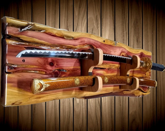 Rustic Sword Rack Display, Live Edge Knotty Cedar, Wall Mount, Military Saber, Samurai Katana, Saber, Cherry Blade and Sheath Hangers, Gift