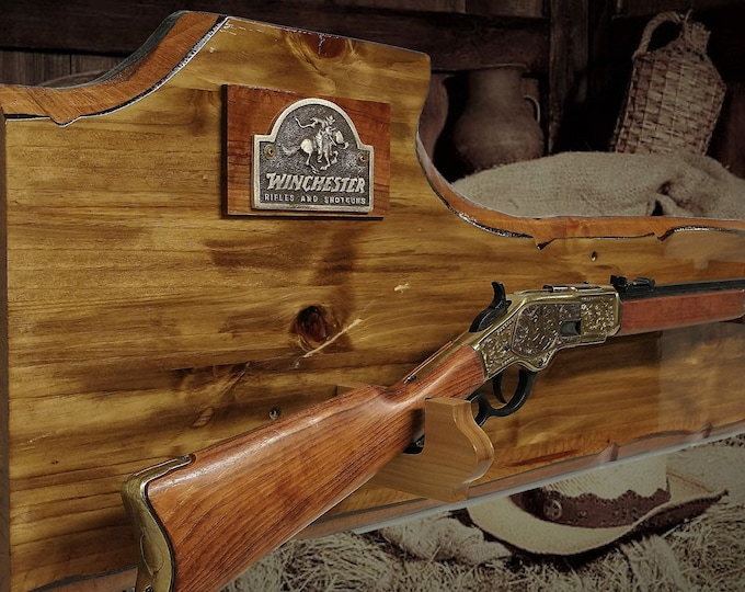 Rustic Winchester Gun Rack Lever Action Rifle Display Wall Mount Western Décor Cabin Gift
