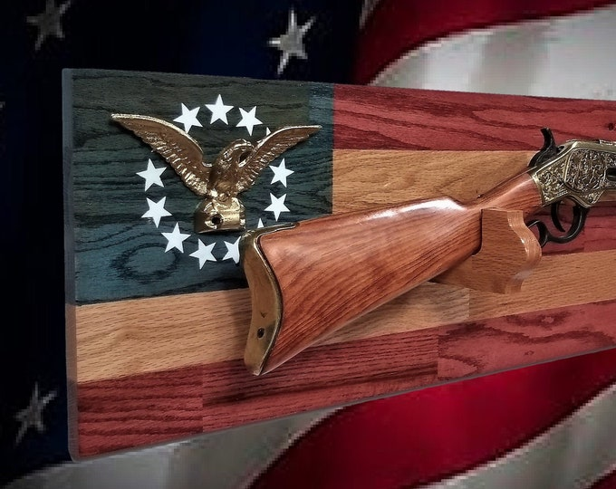 Rustic Oak Gun Rack Gold Eagle Wall Mount Rifle Display Patriotic Flag Decor, Gift, FREE SHIPPING