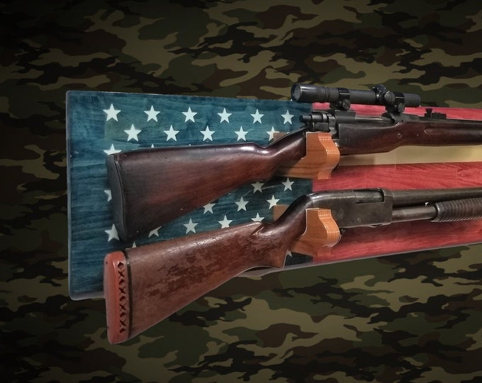 USA 2 Place Gun Rack Wall Display Rifle Shotgun Americana Flag Hunting Decor Gift, FREE SHIPPING