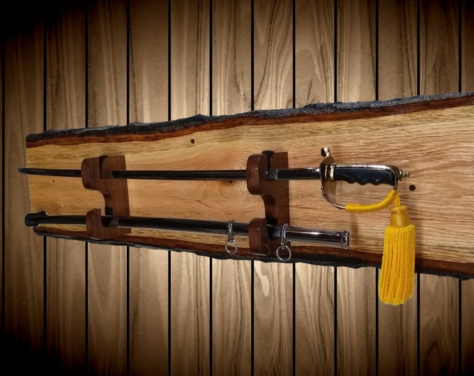 Sword Display Rack, Wall Mount,Live Edge Oak, Military Saber,  , Samurai Katana, Walnut Blade and Sheath Hangers, Handcrafted Gift