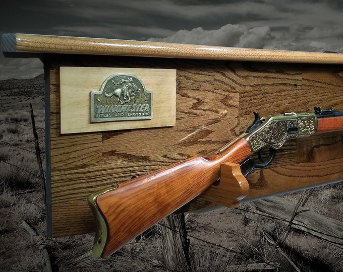 Rustic Oak Gun Rack Winchester Lever Action Rifle Display, Western Cabin Hunting Decor, Gift, FREE SHIPPING