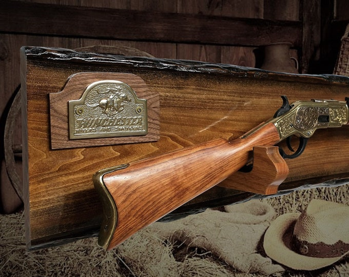 Rustic Winchester Gun Rack Lever Action Rifle Display Wall Mount Western Décor Birthday Gift Free Shipping!
