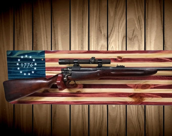 Patriotic 1776 Flag Gun Rack Knotty Pine Wall Mount Rifle Shotgun Handmade Americana Cabin Man Cave Hunting Decor Gift
