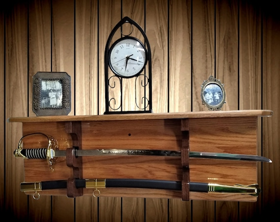 Solid Oak Military Saber Katana Sword Display Rack Shelf Wood Wall Mount Custom Walnut Hangers Handcrafted Gift