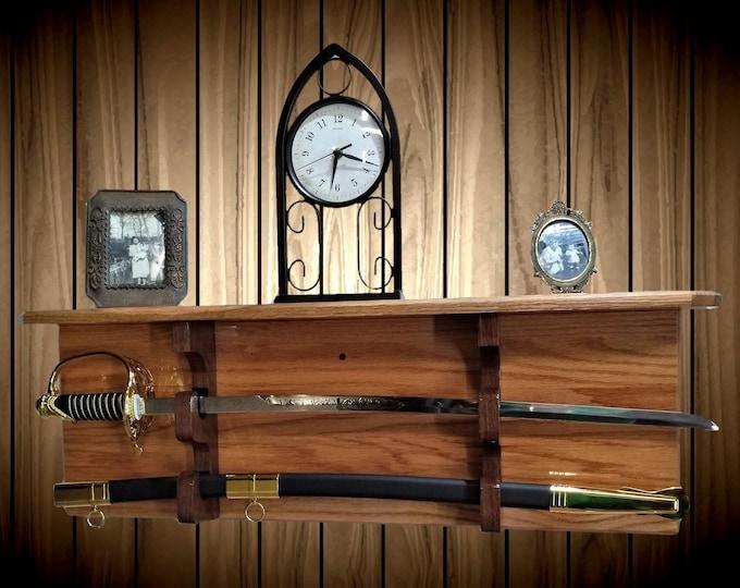 Sword Display Rack w/Shelf, Wood Wall Mount, Solid Oak, Military Saber Katana, Custom Walnut Hangers, Handcrafted Gift, FREE SHIPPING
