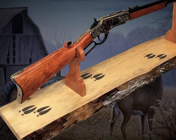 Rustic Gun Rack Stand Deer Hoof Prints on Live Edge Pine Western Rifle Display Mantel Table Top Hunting Decor, Gift, FREE SHIPPING