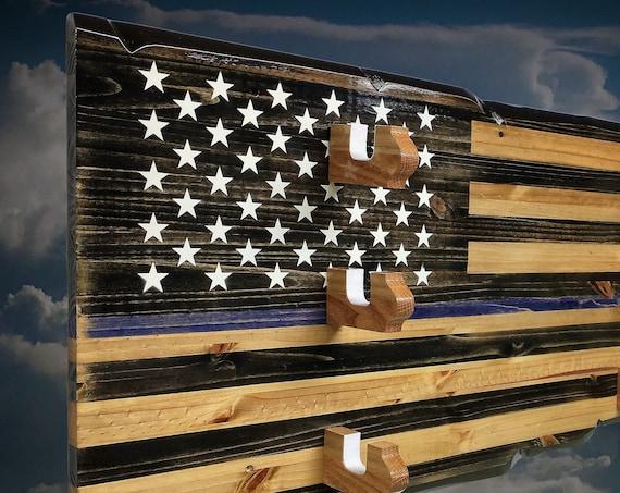 3 Place Rustic Thin Blue Line Rustic Gun Rack Rifle Shotgun Wall Display Police Officer Gift Free Shipping