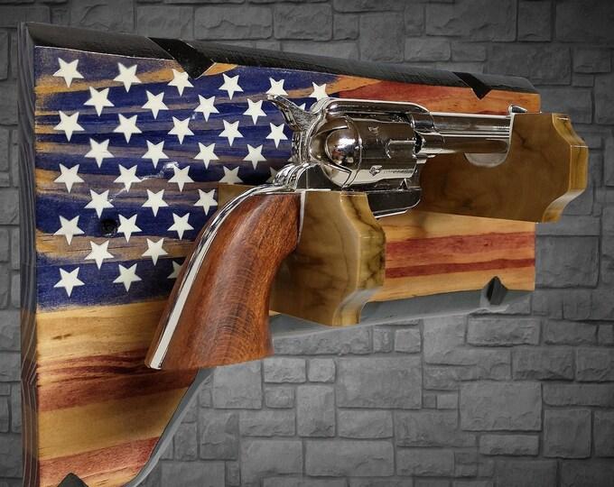 Rustic Vintage Pistol Display Gun Rack Knotty Pine Patriotic Décor Gift, FREE SHIPPING