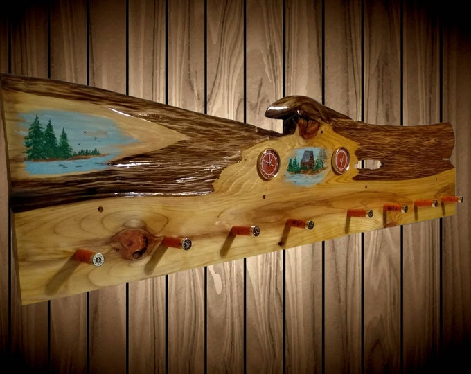 Rustic Hand Painted Hat Coat Rack Orange Clock Thermometer 8 Shotgun Shell Pegs Home Cabin Decor Gift