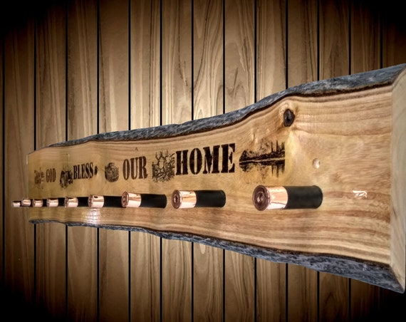 Rustic God Bless Our Home Hat Coat Rack Shotgun Shell Pegs Country Home Decor Gift
