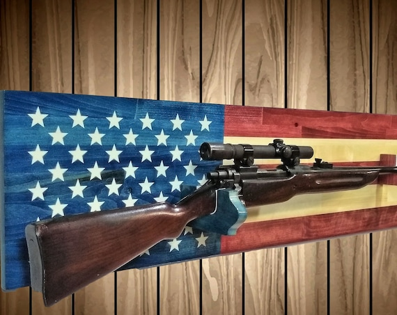 American Gun Rack, Wall Mount, Rifle Shot Gun Display, American USA Flag Decor, Hunting Gift, FREE SHIPPING