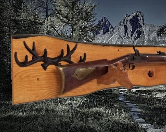 Rustic Gun Rack Live Edge Golden Oak Antler Wall Mount Shotgun Rifle Home Cabin Décor Gift, Free Shipping