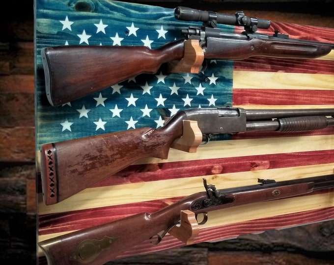Rustic American Flag Gun Rack 3 Place Knotty Pine, Rifle Shotgun Americana Decor Great Gift, FREE SHIPPING