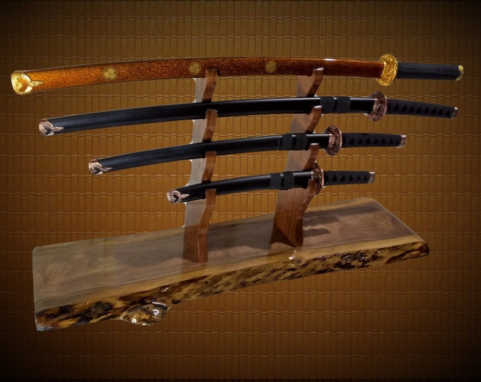 Rustic Sword Display Stand 4 Tier Katana Wakizashi Tanto Samurai Live Edge Walnut Mantel Desk Top  Japanese Decor Handcrafted Gift