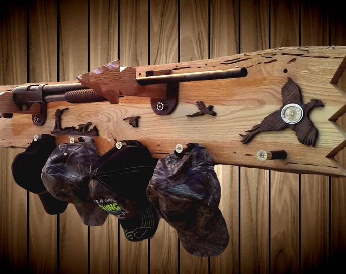 Rustic Gun Rack Live Edge Ash Pheasants Arrowhead Holders Shotgun Shell Pegs Clock Home Cabin Decor Handcrafted Gift