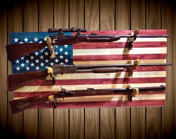 American Flag Patriotic 3 Gun Rack Pistol Hangers Aspen Wood Wall Mount Rifle Shotgun Muzzle Loader Custom Order