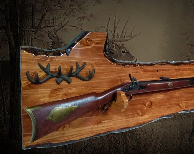 Rustic Figured Gun Rack Oak Hangers Iron Antlers Rifle Shotgun Display Hunting Cabin Decor Gift. Free Shipping