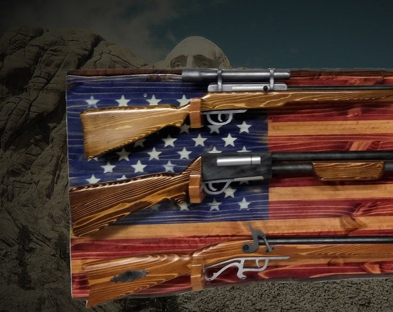 Old Glory 3 Place Rustic Flag Gun Rack Knotty Pine Rifle Shotgun Patriotic Décor Gift, FREE SHIPPING