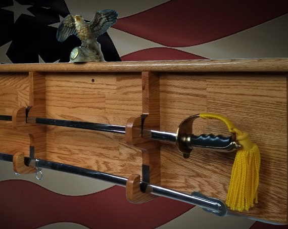 Solid Oak Sword Display Blade and Sheath Military Saber Vintage Katana Fathers Day Gift, FREE SHIPPING!