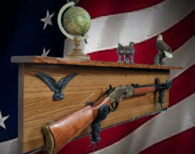 Rustic Live Edge Oak Gun Rack Shelf Iron Spurs Eagle Lever Action Rifle Display Cabin Hunting Western Décor, Gift, FREE SHIPPING