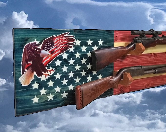Americana Eagle Flag Gun Rack, 2 Place Rustic Pine, Rifle Shotgun Muzzle Loader, Game Room, Lodge. Man Cave Decor, FREE SHIPPING