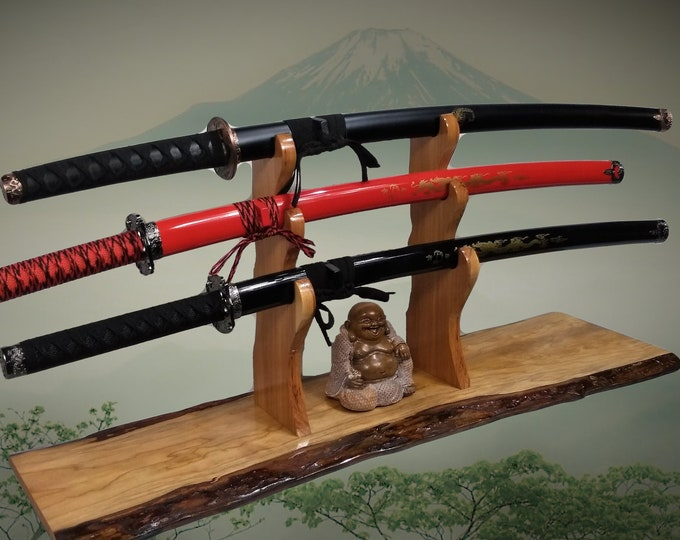 Rustic Cherry Katana Sword Stand, 3 Tier Hickory Holders, Mantel Desk Top Japanese Samurai Decor, Gift, Free Shipping