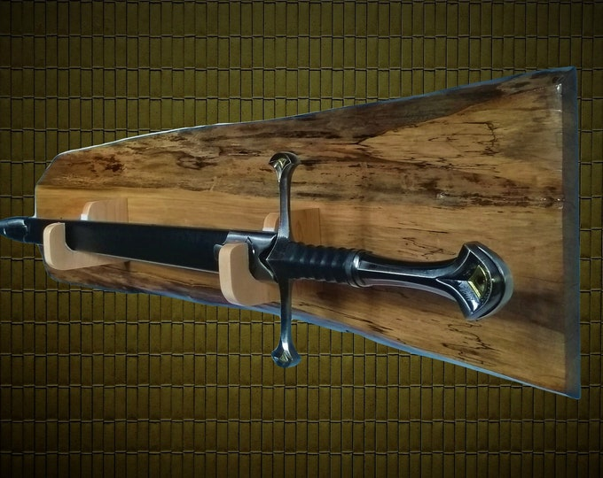 Rustic Sword Maple Wall Display Military Saber Samurai Katana, Long Sword Gift, Free Shipping