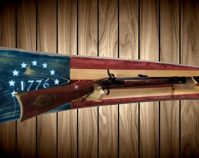 Rustic Patriotic 1776 Flag Gun Rack Live Edge Wall Mount Rifle Shotgun Handmade Americana Cabin Man Cave Decor Gift