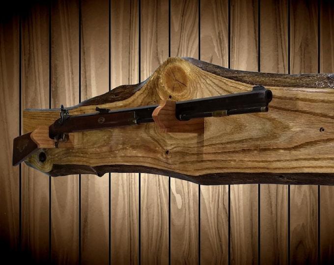 Rustic Gun Rack Live Edge Knotty Oak Rifle Shotgun Muzzle loader Rustic Wall Decor Man Cave Handmade Gift