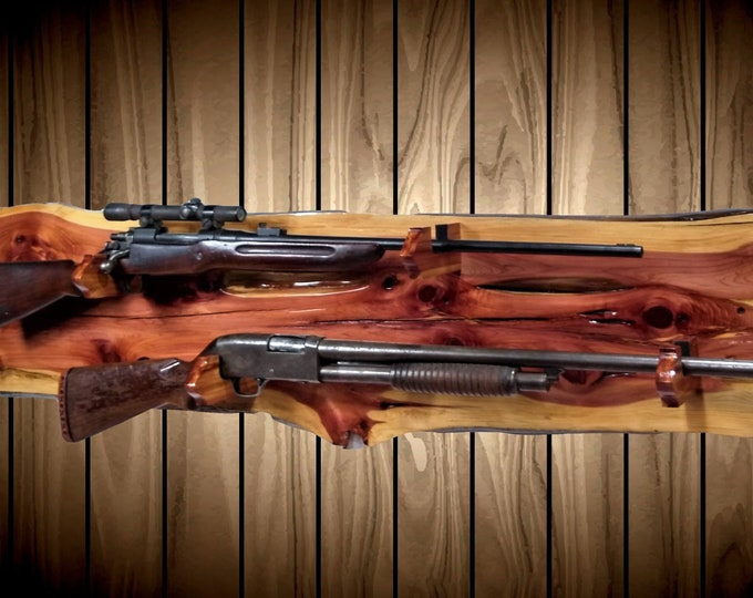 Rustic Raw Nature  2 Place Gun Rack, Wall Mount, Live Edge Knotty Cedar, Rifle Shotgun Home Cabin Decor, Fathers Day Gift