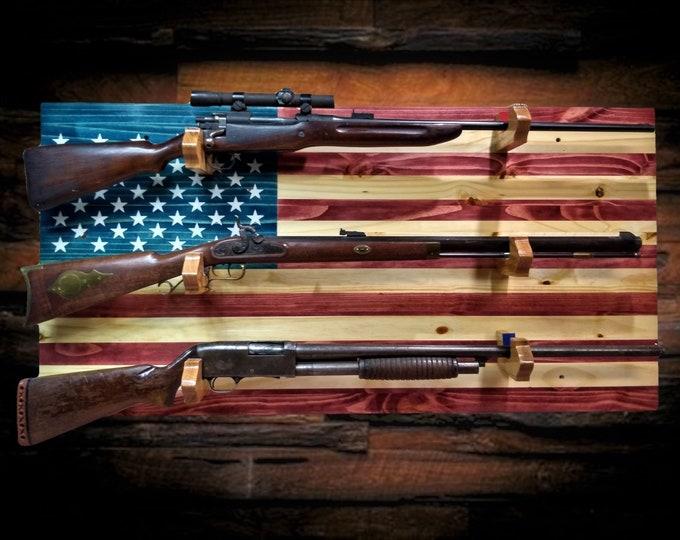 American Flag Gun Rack 3 Place Knotty Pine Wood Wall Mount Rifle Shotgun Muzzle Loader Handcrafted Man Cave Americana Decor Gift